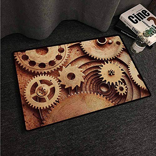 HCCJLCKS Interior Door mat Industrial Inside The Clocks Theme Gears Mechanical Device Image in Steampunk Style Print Easy to Clean Carpet W30 xL39 Cinnamon