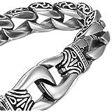 mendino Bijoux Hommes Bracelet en acier inoxydable 316L de dragon Menottes Bracelet Chaîne avec un sac en velours