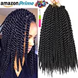 6 Packs 1cm 12 roots/pack 14' havana mambo twist crochet braid hair extension ombre braiding hair synthetic hair xpression braids (14 Inch #1B)