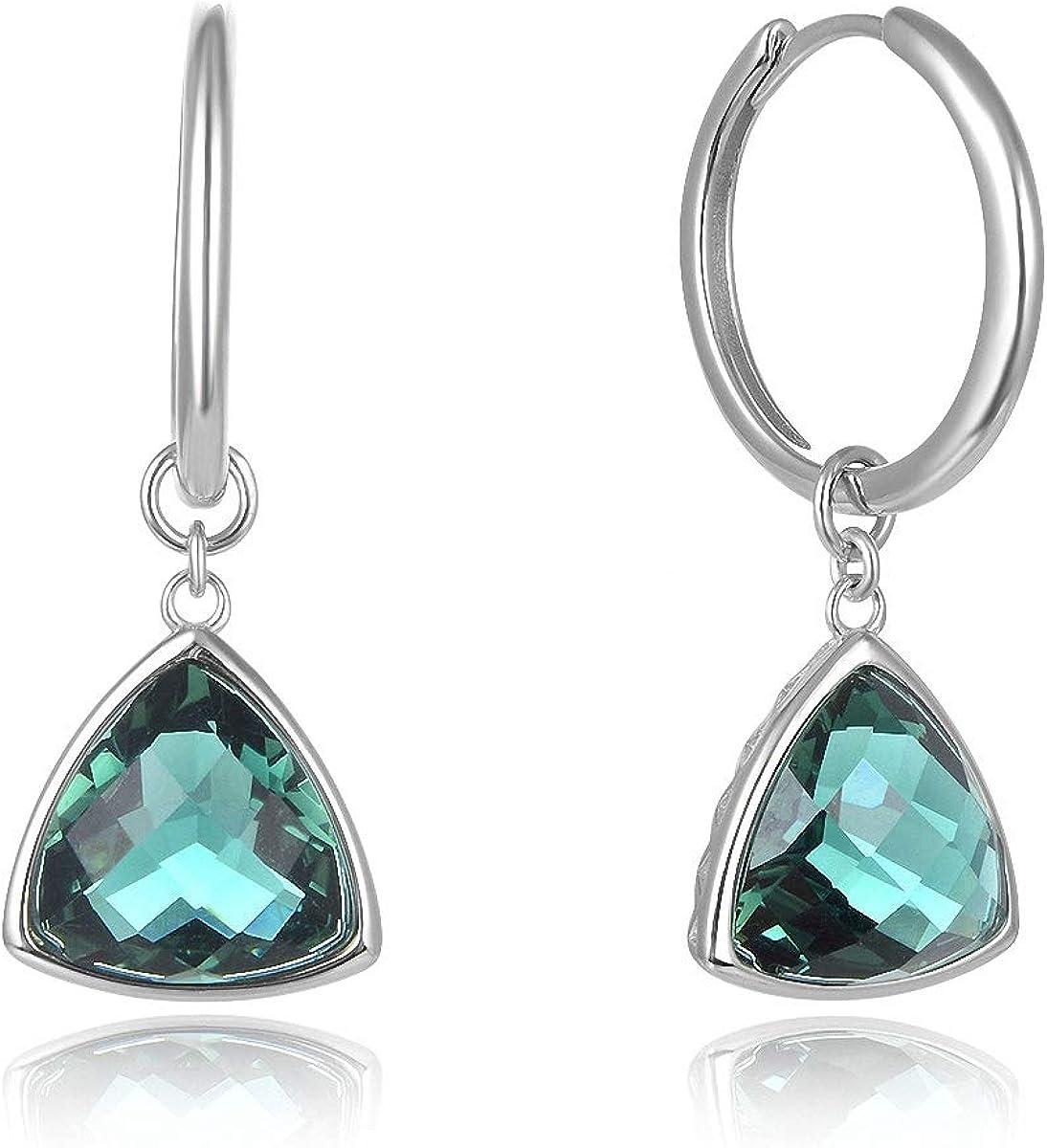 Pendientes de plata de ley 925 de Lotus Fun, con cristales verdes, estilo étnico, triángulo, piedras preciosas, pendientes pequeños, joyas únicas para mujeres y niñas