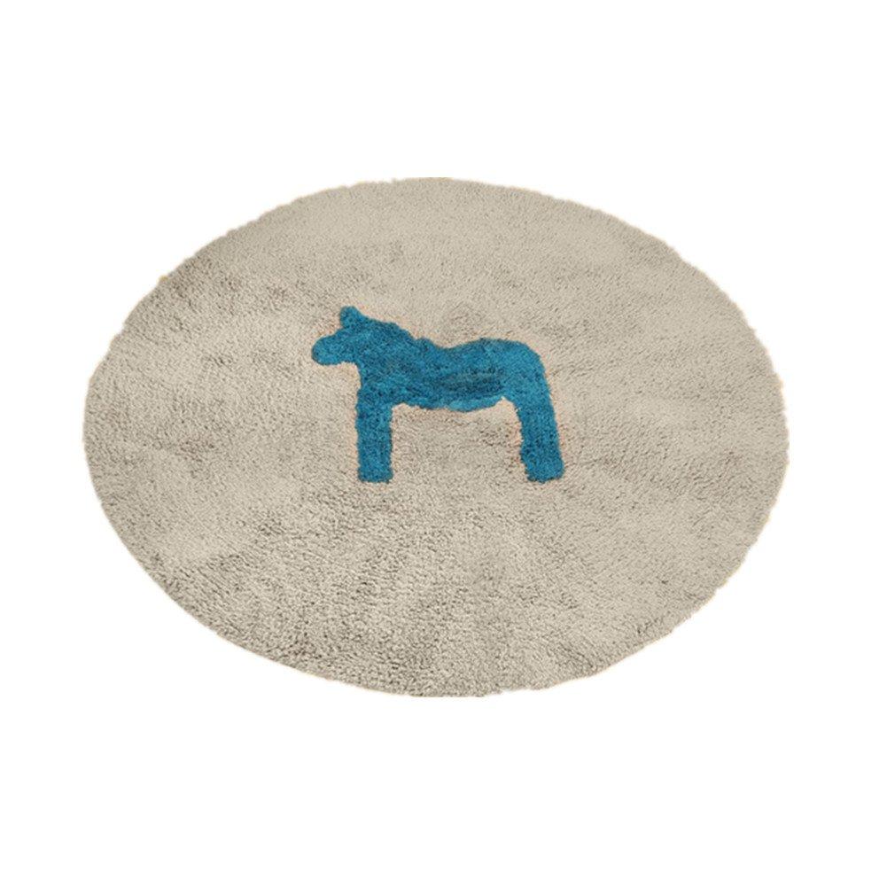 Unbekannt Rug Pony Cartoon Baumwolle Runde Matten Fußmatte Matte Bett Kinderzimmer Eingang Fallschutz Anti-Rutsch-matten Teppichreinigung Rutschfest (größe : D-100cm)