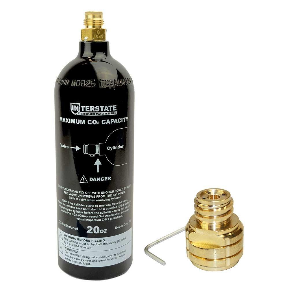 Interstate Pneumatics WRCO2-CL20K1 20 Oz CO2 DOT Paintball Tank with Soda Stream Fitting