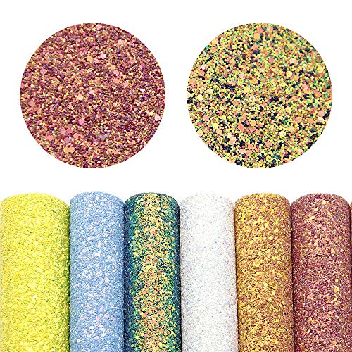 (David accessories Super Shiny Chunky Glitter Stereoscopic Sequins Faux Leather Sheets Fabric 7 Pcs 8