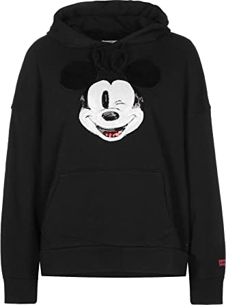 Levis X Mickey Mouse Graphic Oversized Sudadera Capucha Mujer Negro XS (X-Small)