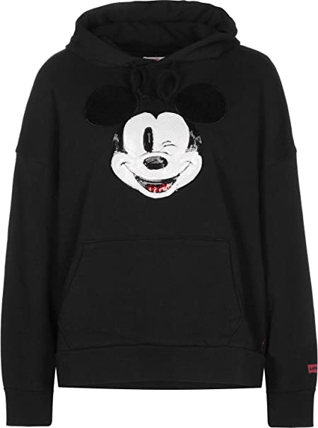 Levis X Mickey Mouse Graphic Oversized Sudadera Capucha Mujer Negro M (Medium)