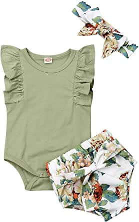 Newborn Baby Girl Clothes Sleeveless Solid White Sling Romper+Floral Shorts Pants+Bowknot Headband 3Pcs Summer Outfit Set