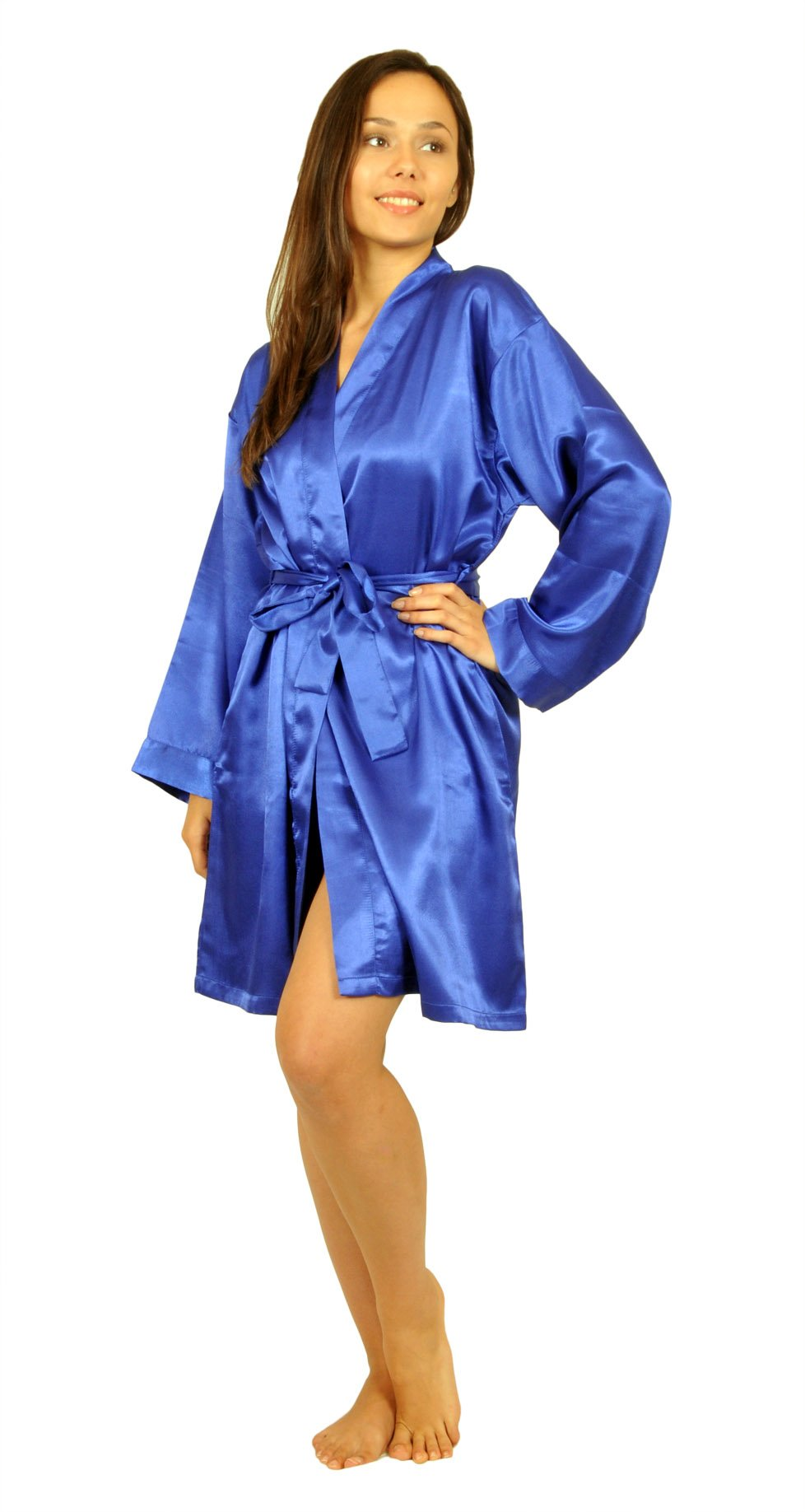Satin Robe, Five Color Choices, Sizes (S, M, L, XL, 2X), Up2date Fashion Style#Gwn11 (2X, Royal Blue)