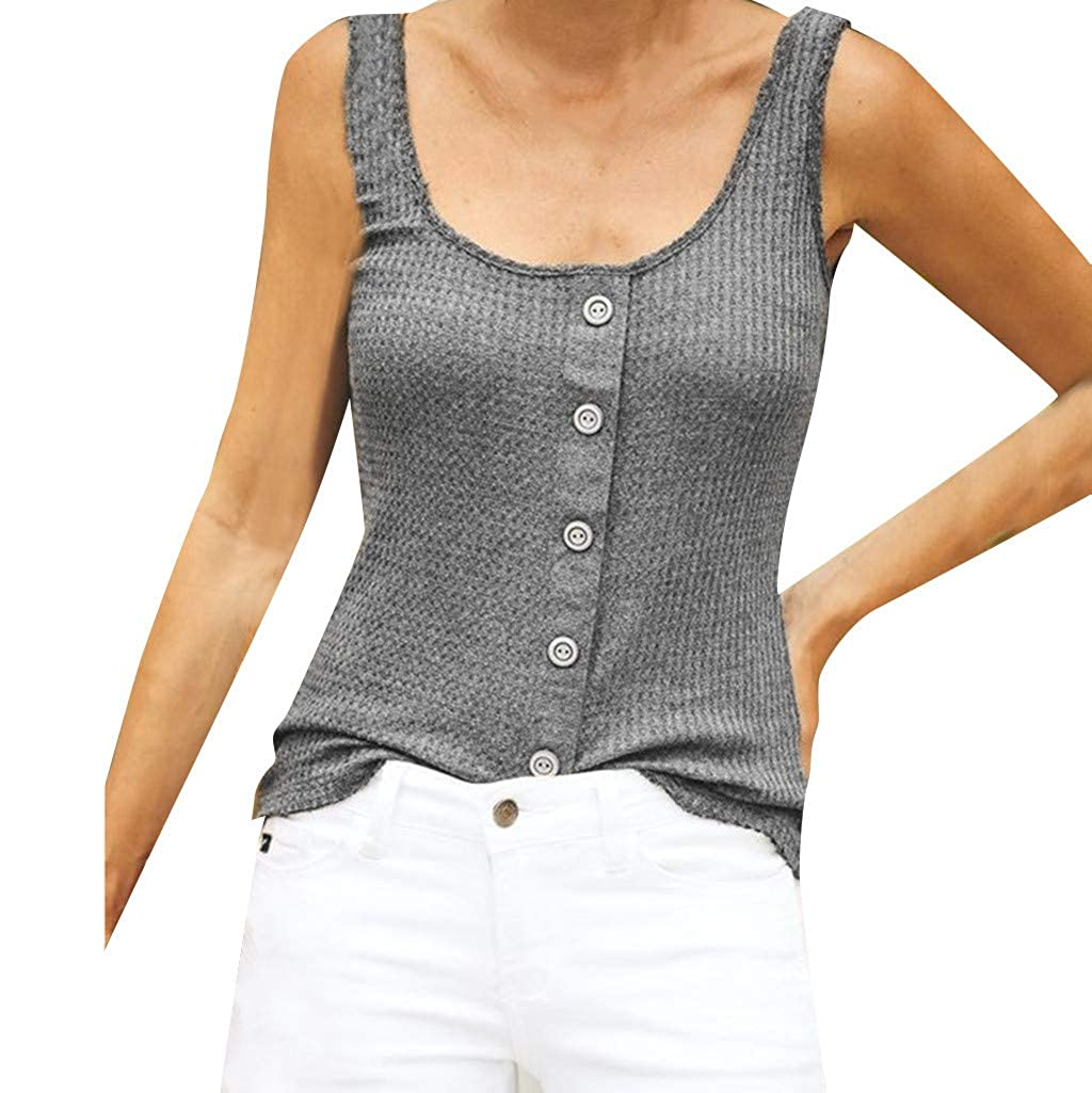 XINHUXIN Plus Size Women Causal Vest Top Plaid Low Chest Buttons Tank Top Sleeveless Halter Camis Blouse