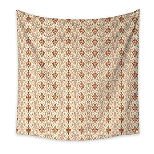 (Antique Bedroom Tapestry Botanical Nature Pattern with Vintage Byzantine Floral Design Elements Room Tapestry Beige Tan and Rust 55W x 55L Inch)