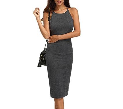 Spetlye Fashion Grey CrissBack Round Neck Backless Sleeveless Dresses  Ladies Slip Sexy Slim Midi Dress Gray 6e8f65dac