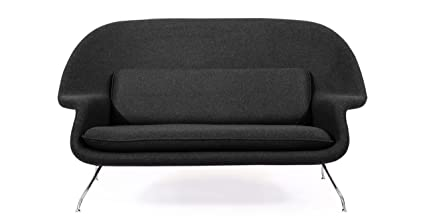 Kardiel Womb Mid Century Modern Loveseat Sofa, Charcoal Tweed Cashmere Wool