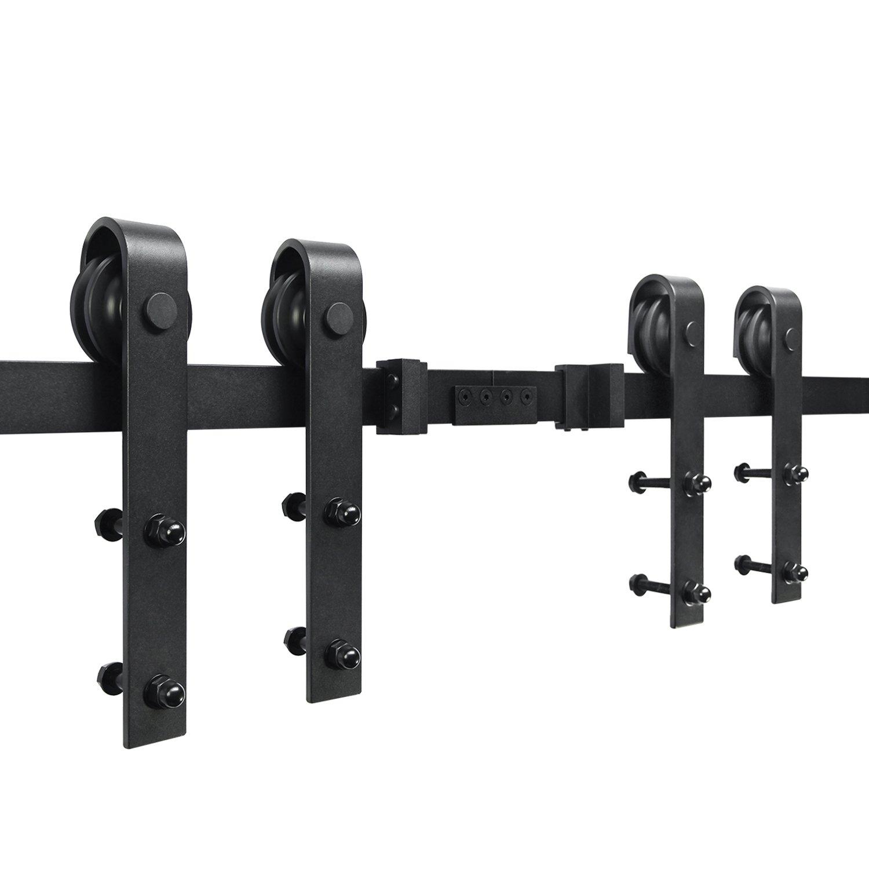 SMARTSTANDARD 10ft Double Door Sliding Barn Door Hardware (Black) (J Shape Hangers) (2 x5.0 foot Rail) by SMARTSTANDARD (Image #1)