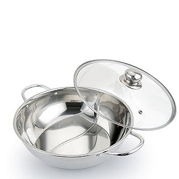BESTONZON - Olla doble de acero inoxidable con dos sartenes de cocina de inducción con tapa de cristal: Amazon.es: Hogar