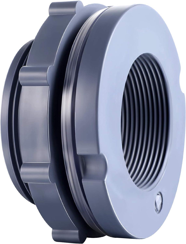 Outus PVC Bulkhead Fitting for Rain Barrels, Aquariums, Ponds or Water Tanks (2 Inches)