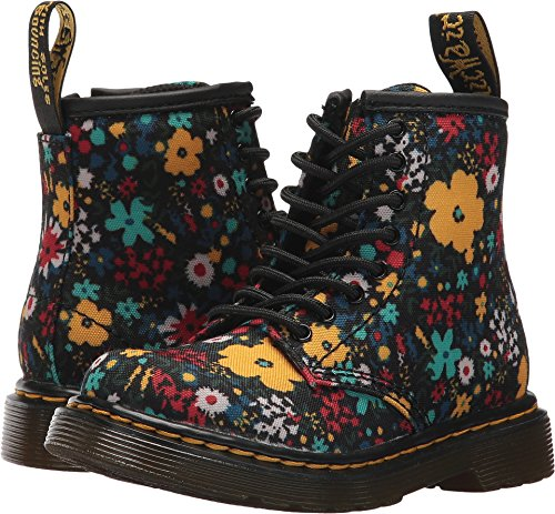 Dr. Martens Girl's Brooklee Wanderflora Boots, Black, 9 Toddler M UK, 10 M US