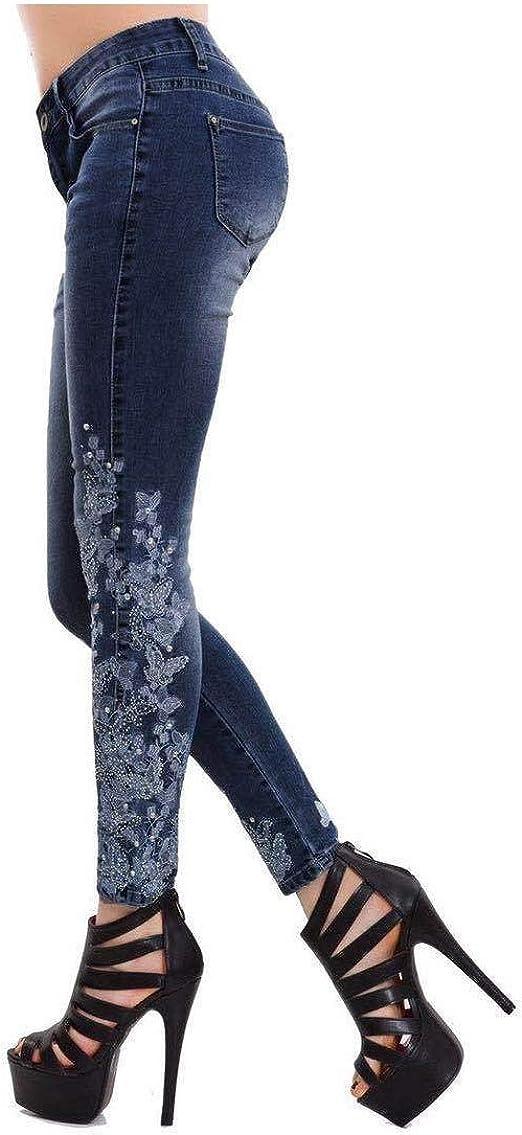 Nicellyer 女性ストレッチハイウエストソリッド細い刺繍パーソナライズされたジーンズパンツ
