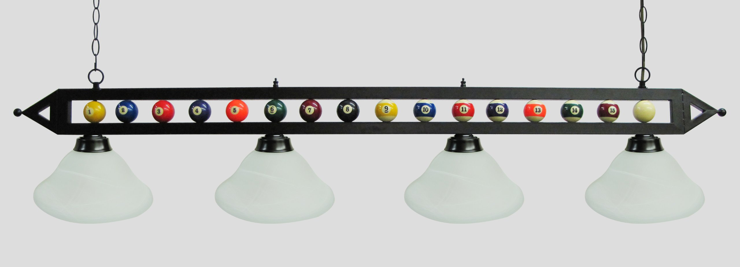 72'' Black Metal Ball Design Pool Table Light Billiard Lamp Choose Black, Red, Green Metal Shades or White Glass (White Glass Shades)