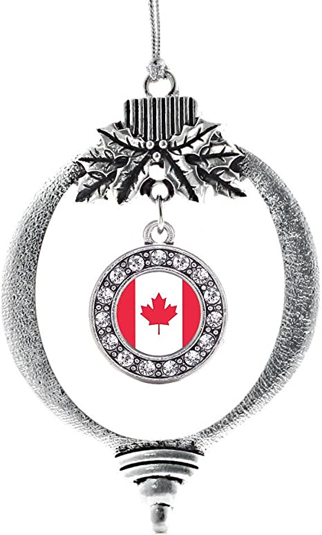 Inspired Silver Canadian Flag Charm Ornament Silver Circle Charm Holiday Ornaments With Cubic Zirconia Jewelry Amazon Ca Home Kitchen