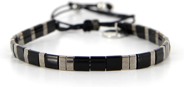 Belle Mais Pas Que - Pulsera de cordón Black Rock Silver, oro fino, perla Miyuki, negro 6