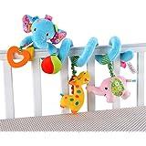 Singring Baby Pram Crib Cute Blue Elephant Design Activity Spiral Plush Toys Stroller and Travel Activity Toy