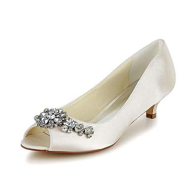 Jia Jia Damen Brautschmuck 01110 Peep Toe Stiletto Heel Satin Hochzeit  Schuhe, Beige, 5 9dc652c39a
