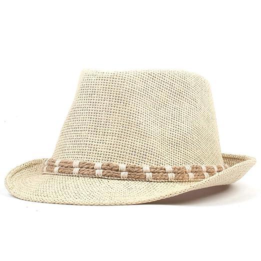 9849d68f9d93e Mens Summer Straw Hats Sun Hats Jazz Cap Classic Panama Caps Fedoras Hat  Unisex at Amazon Men s Clothing store