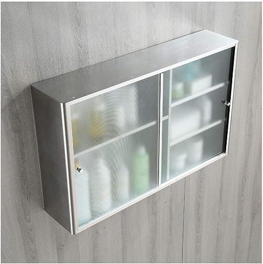 Enjoy4Clean - Armarios de baño de Acero Inoxidable para Cocina, armarios de Pared con Puertas correderas de Cristal y Estante Laminado Ajustable: Amazon.es: Hogar