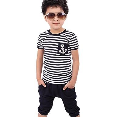 449f97fa4b88cc Baby Jungen Neuen Sommer Kinder Kleidung Navy Gestreift T-Shirt und Hose  Passt (2