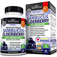 Sambucus Elderberry Capsules with Zinc & Vitamin C - Women & Men's Daily Herbal Supplement for Immune Support, Skin Health - Powerful Antioxidant - Natural Elderberries - Veggie Caps - 60 Capsules