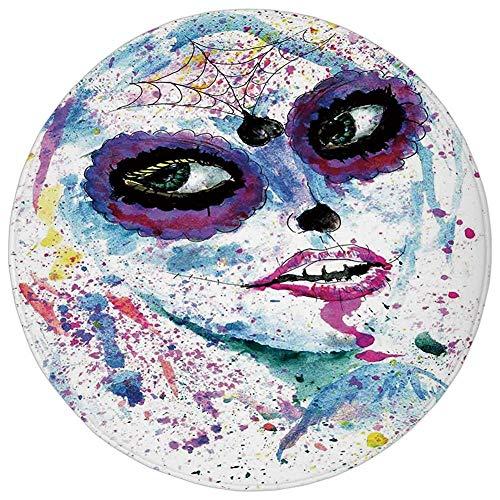 Pet Mat Round Rug Mat Carpet,Girls,Grunge Halloween Lady with Sugar Skull Make Up Creepy Dead Face Gothic Woman Artsy,Blue Purple,Flannel Microfiber Non-slip Soft Absorbent,for Kitchen Floor Bathroom ()