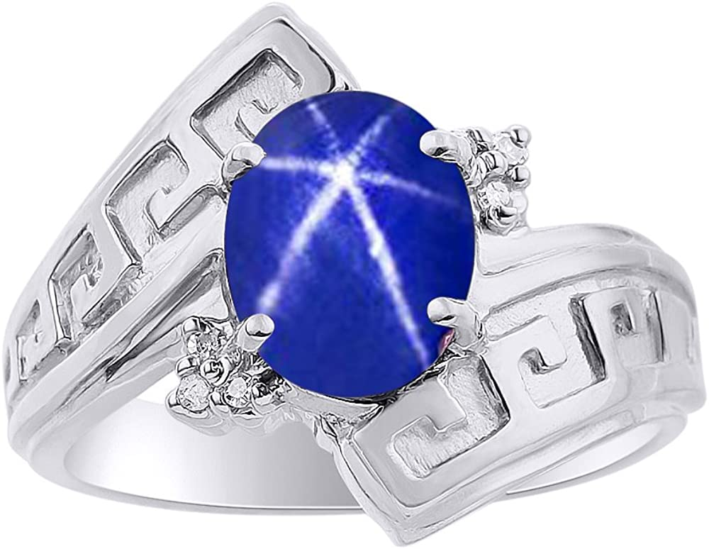 2.5 Carats Natural Black Star Sapphire Ring Sterling Silver