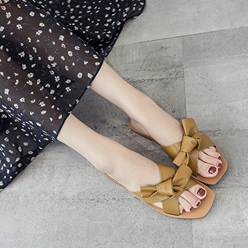 Strand Sandelholze Coole Weibliche Einfachen Mode Frau ITTXTTI Wilden Flache Sommerabnutzung Schuhe yellow Sandalen Bogen Pantoffel T7fWwq
