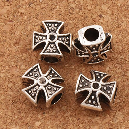 Calvas 100pcs Diamante-Set Dots Cross Beads Spacers Alloy MIC 11x11x6 mm Antique Silver Metal Bead Jewelry DIY L1347