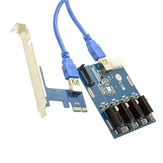Kalolary-PCI-e Express 1X to 4 Port 1X Switch Multiplier HUB Riser