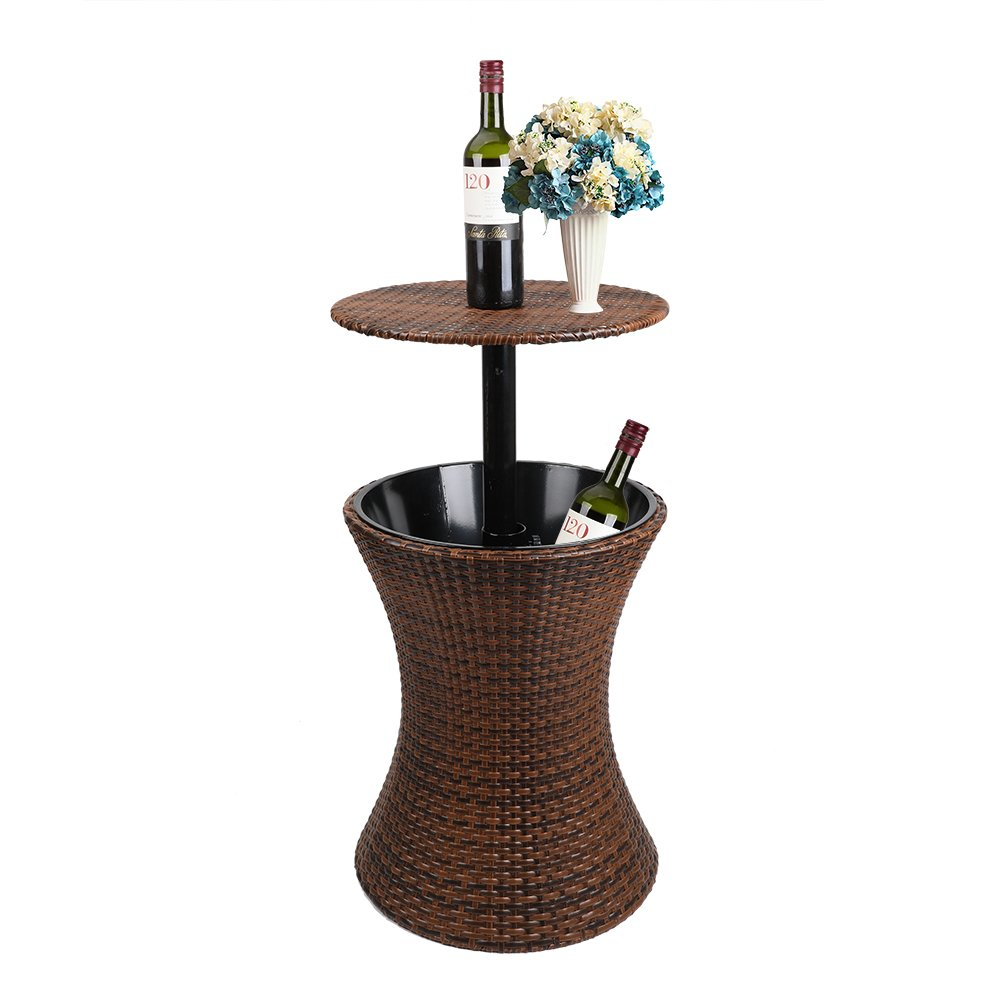 Display4top 3 -in- 1 Brown 44CM Round Adjustable Top Gallon All-Weather Wicker Style Outdoor Cool Bar Ice Cooler Table Garden Furniture