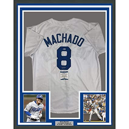 Framed Autographed/Signed Manny Machado 33x42 Los Angeles LA White ...
