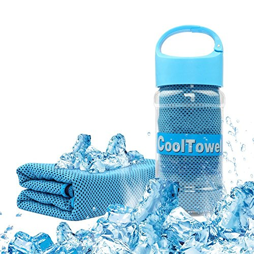 Thiroom Cooling Towel for Sports, Fitness, Gym & Yoga,Tennis, Gym, Hiking & Running and Other Sports with Waterproof Plastic bottle