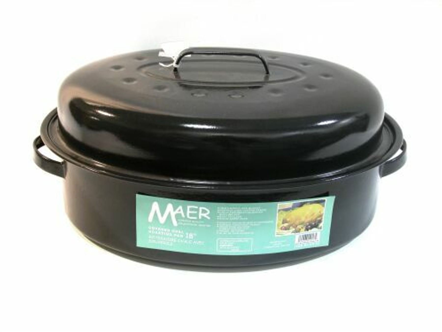 Maer Enamel 18-inch Oval Roaster With Lid