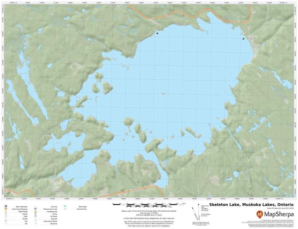 Ontario Skeleton Lake Muskoka Lakes 22 x 17 Laminated Wall Map