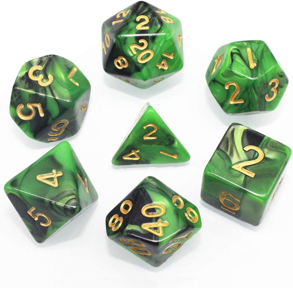 Black /& Green HD DICE DND RPG Polyhedral Game Dice Set for Dungeons and Dragons D/&D Pathfinder MTG Role Playing Game Dice