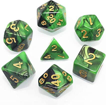 New 7 Piece Polyhedral Milky Green Dice Set With Dice Bag D/&D RPG