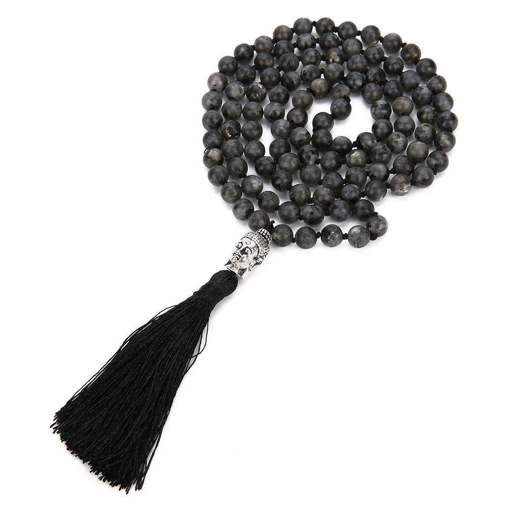 VEINTI+1 Bohemia Style 6/8mm Natural Gemstone Beads 108pcs Spectrolite with Buddha Head Pendant Tassles Women's Long Necklace (8mm)
