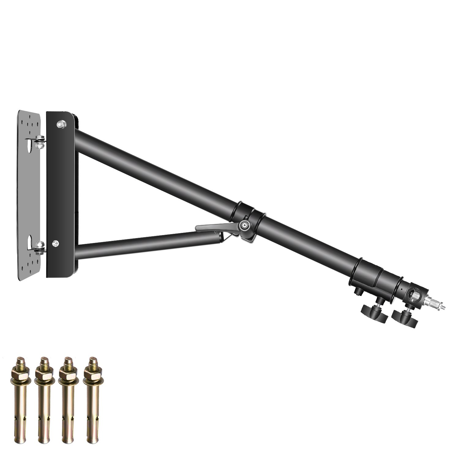 Neewer Triangle Wall Mounting Boom Arm for Photography Studio Video Strobe Lights Monolights Softboxes Umbrellas Reflectors,180 Degree Flexible Rotation,Max Length 51.1 inches/130 centimeters (Black) by Neewer