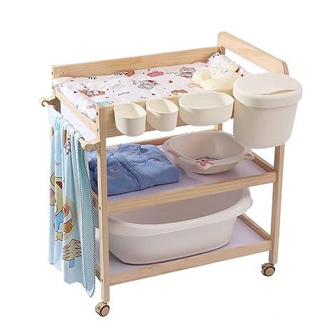 Amazon.com: Mesa cambiadora de madera maciza para bebé, mesa ...