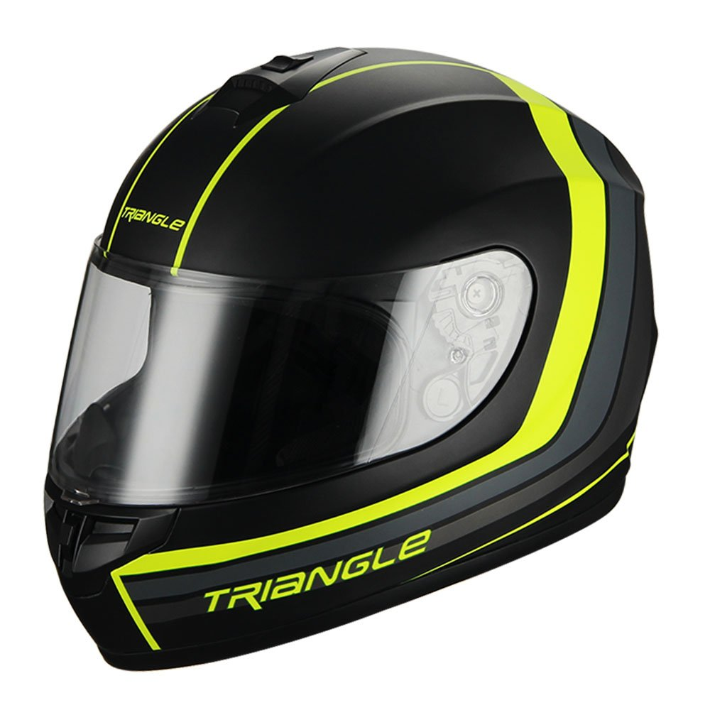 Triangle Full Face Matte Street Bike Motorcycle Helmet [DOT] (Small,Matte Black/Neon Yellow) by TRIANGLE