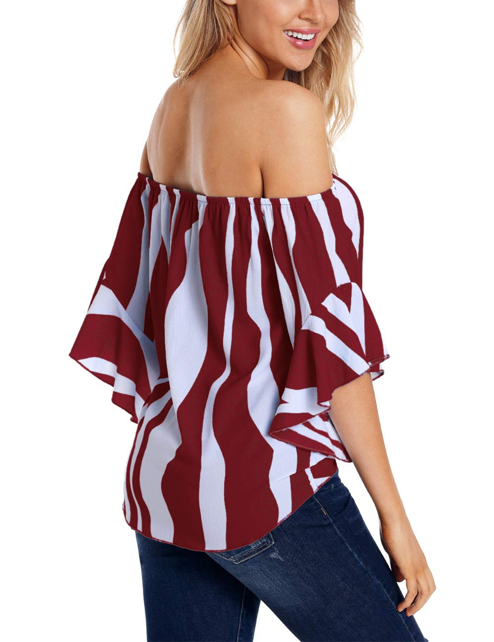RSM &CHENG Women's Striped Off Shoulder Bell Sleeve Shirt Tie Knot Casual Blouses Tops(Stripe Red,L)