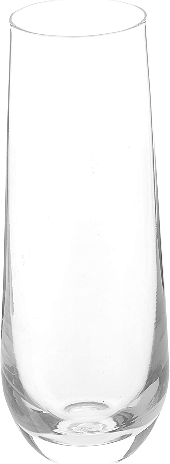 Circleware Stemless Champagne Flute Glasses Set of 4, Elegant All-Purpose Wine Drinking Glassware Beverage Cups for Water, Juice, Beer, Liquor, Whiskey & Home Bar Decor, 10.5 oz, Downtown Clear