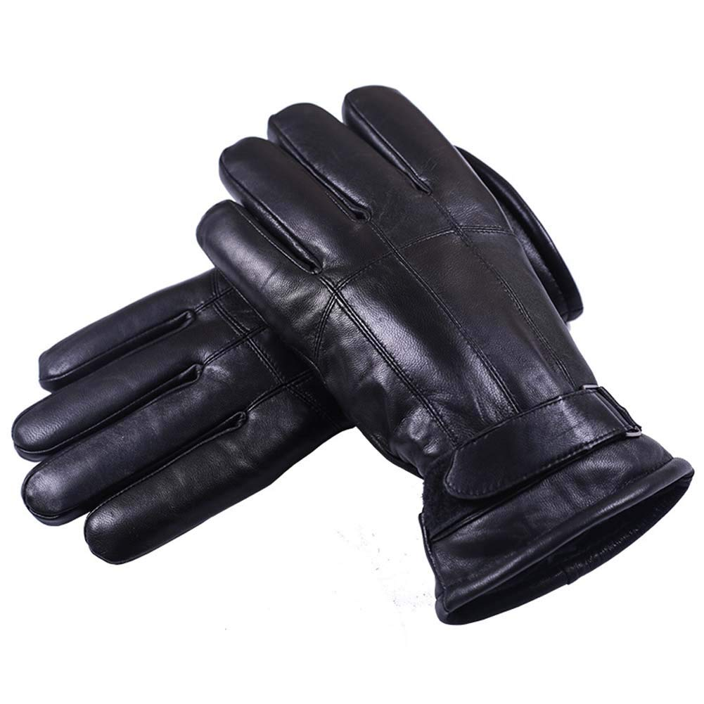 ANJUY Men's Lambskin Leather Gloves,Driving Cashmere Lined Gloves,Winter Warm Mittens