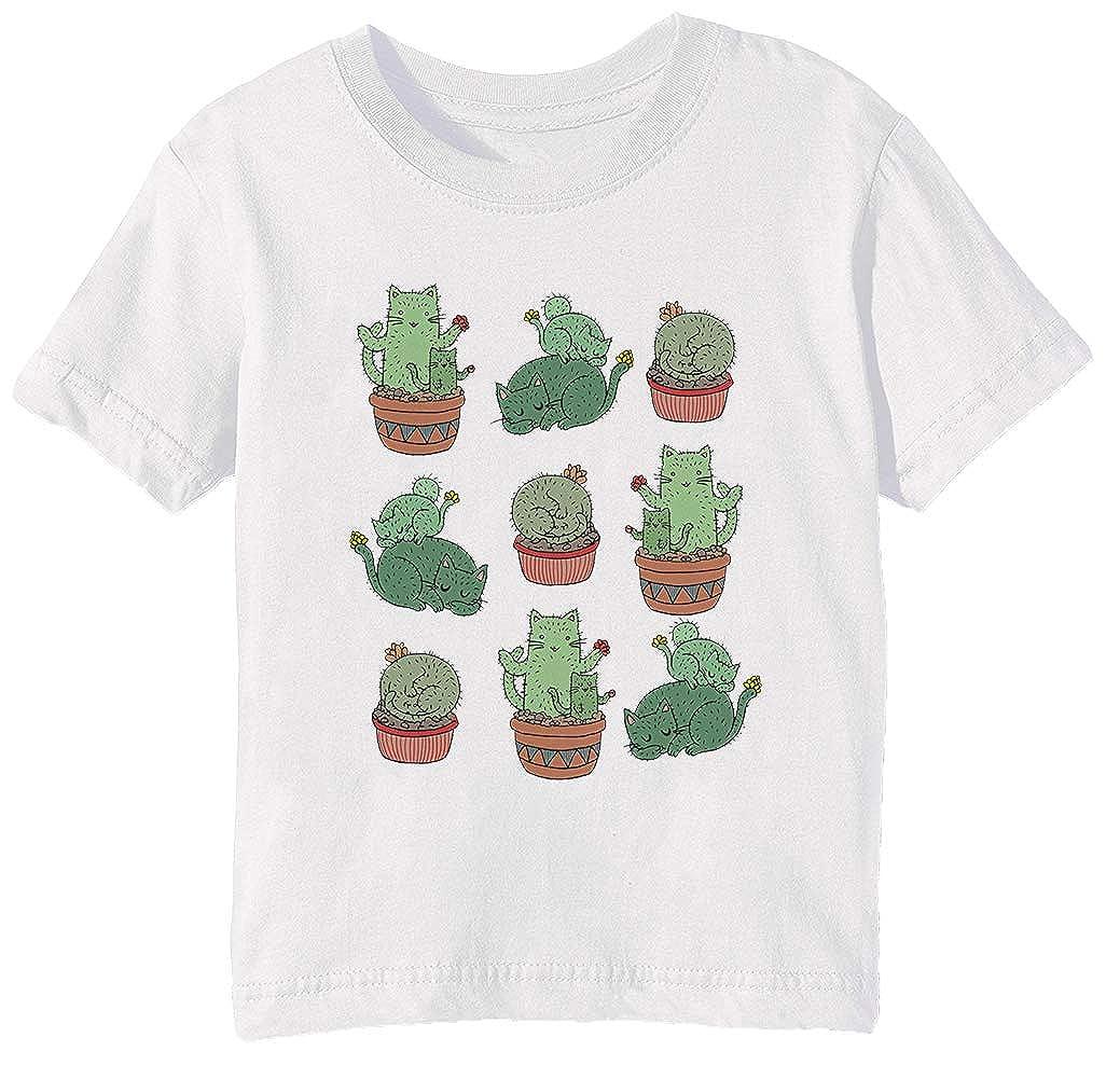 Cactus Gatos Niños Unisexo Niño Niña Camiseta Cuello Redondo ...