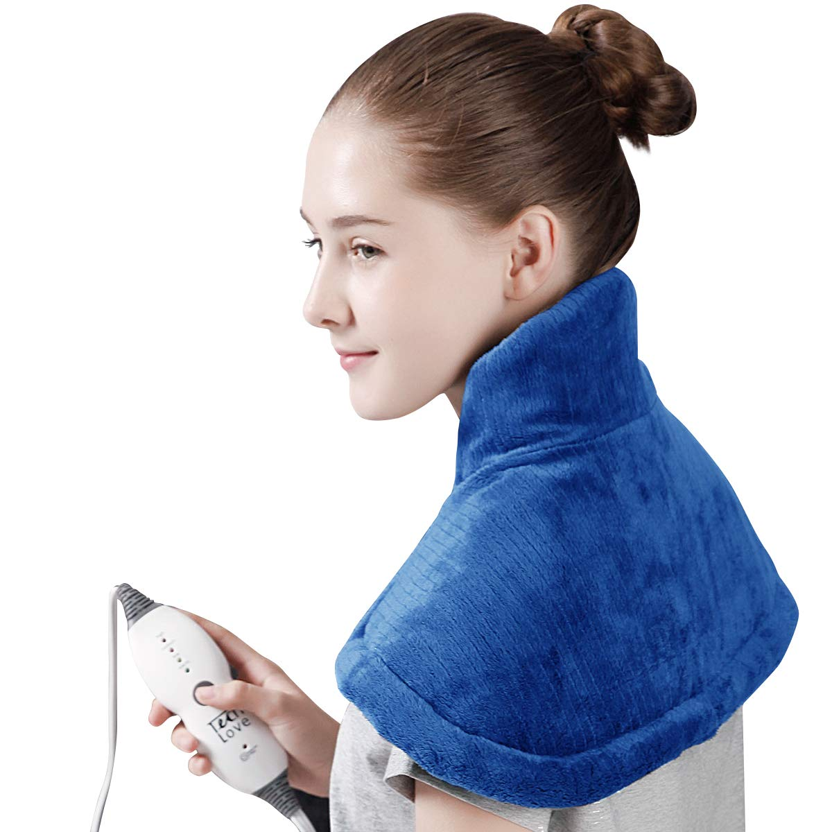 """TechLove Electric Heating Pad for Neck Shoulder and Upper Back Pain Relief Moist/Dry Heated Pad with Auto Shut Off 14"""" x 22"""" - Blue"""